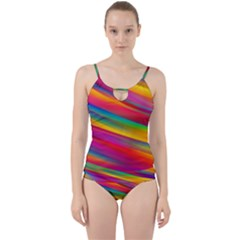 Colorful Background Cut Out Top Tankini Set