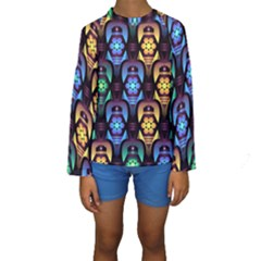Pattern Background Bright Blue Kids  Long Sleeve Swimwear