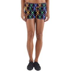 Pattern Background Bright Blue Yoga Shorts
