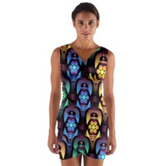 Pattern Background Bright Blue Wrap Front Bodycon Dress