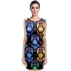 Pattern Background Bright Blue Classic Sleeveless Midi Dress