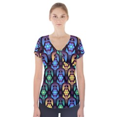 Pattern Background Bright Blue Short Sleeve Front Detail Top