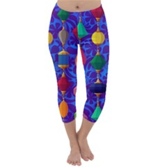 Colorful Background Stones Jewels Capri Winter Leggings