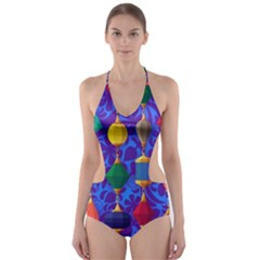 Colorful Background Stones Jewels Cut Out One Piece Swimsuit