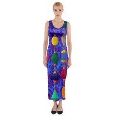 Colorful Background Stones Jewels Fitted Maxi Dress