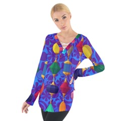 Colorful Background Stones Jewels Tie Up Tee
