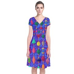Colorful Background Stones Jewels Short Sleeve Front Wrap Dress