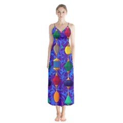 Colorful Background Stones Jewels Button Up Chiffon Maxi Dress