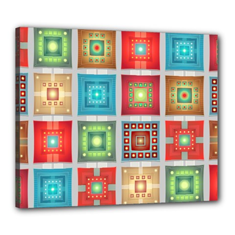 Tiles Pattern Background Colorful Canvas 24  X 20