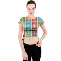 Tiles Pattern Background Colorful Crew Neck Crop Top