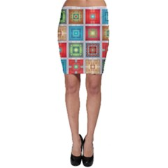 Tiles Pattern Background Colorful Bodycon Skirt