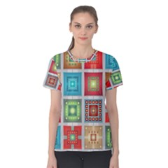 Tiles Pattern Background Colorful Women s Cotton Tee