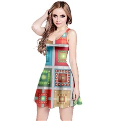 Tiles Pattern Background Colorful Reversible Sleeveless Dress
