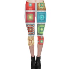 Tiles Pattern Background Colorful Capri Leggings