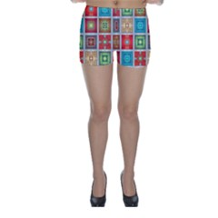Tiles Pattern Background Colorful Skinny Shorts