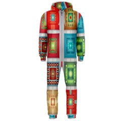 Tiles Pattern Background Colorful Hooded Jumpsuit (men)