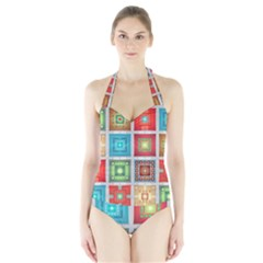 Tiles Pattern Background Colorful Halter Swimsuit