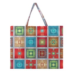 Tiles Pattern Background Colorful Zipper Large Tote Bag