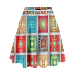 Tiles Pattern Background Colorful High Waist Skirt