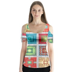 Tiles Pattern Background Colorful Butterfly Sleeve Cutout Tee