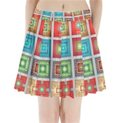 Tiles Pattern Background Colorful Pleated Mini Skirt