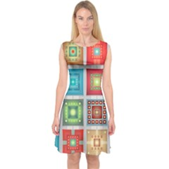 Tiles Pattern Background Colorful Capsleeve Midi Dress