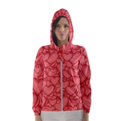 Background Hearts Love Hooded Wind Breaker (women)