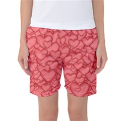 Background Hearts Love Women s Basketball Shorts