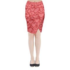Background Hearts Love Midi Wrap Pencil Skirt