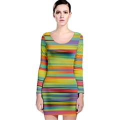Colorful Background Long Sleeve Bodycon Dress