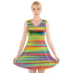 Colorful Background V Neck Sleeveless Skater Dress