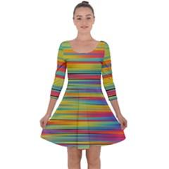 Colorful Background Quarter Sleeve Skater Dress