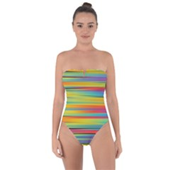 Colorful Background Tie Back One Piece Swimsuit
