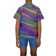 Colorful Background Kids  Short Sleeve Swimwear