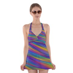 Colorful Background Halter Dress Swimsuit