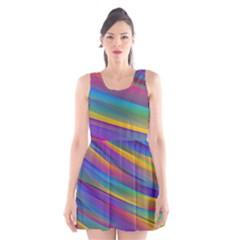 Colorful Background Scoop Neck Skater Dress