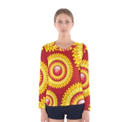 Floral Abstract Background Texture Women s Long Sleeve Tee