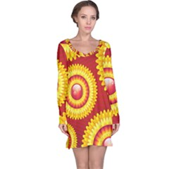 Floral Abstract Background Texture Long Sleeve Nightdress