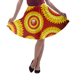 Floral Abstract Background Texture A Line Skater Skirt