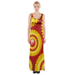 Floral Abstract Background Texture Maxi Thigh Split Dress