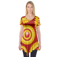 Floral Abstract Background Texture Short Sleeve Tunic