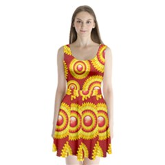 Floral Abstract Background Texture Split Back Mini Dress