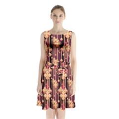 Seamless Pattern Patterns Sleeveless Waist Tie Chiffon Dress