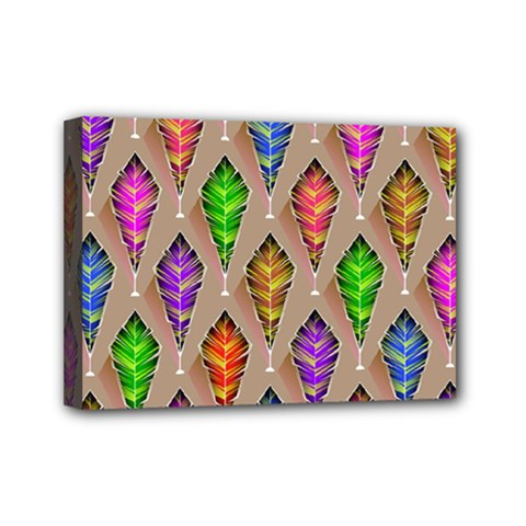 Abstract Background Colorful Leaves Mini Canvas 7  X 5