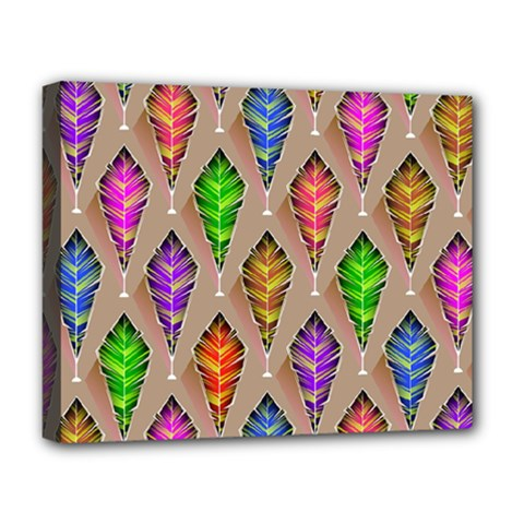 Abstract Background Colorful Leaves Deluxe Canvas 20  X 16