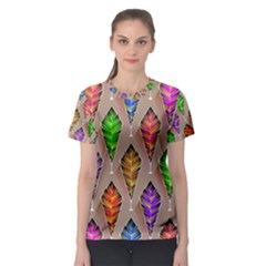 Abstract Background Colorful Leaves Women s Sport Mesh Tee
