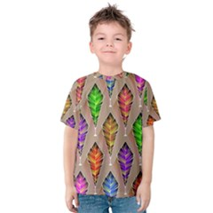 Abstract Background Colorful Leaves Kids  Cotton Tee