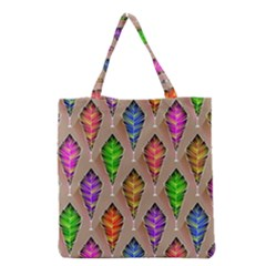 Abstract Background Colorful Leaves Grocery Tote Bag