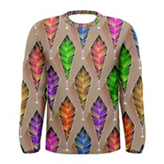 Abstract Background Colorful Leaves Men s Long Sleeve Tee