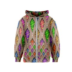 Abstract Background Colorful Leaves Kids  Zipper Hoodie